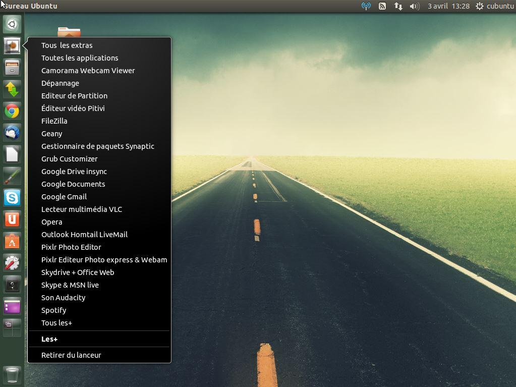 LES + de Cubuntu ubuntu ultimate - clique droit sur Unity