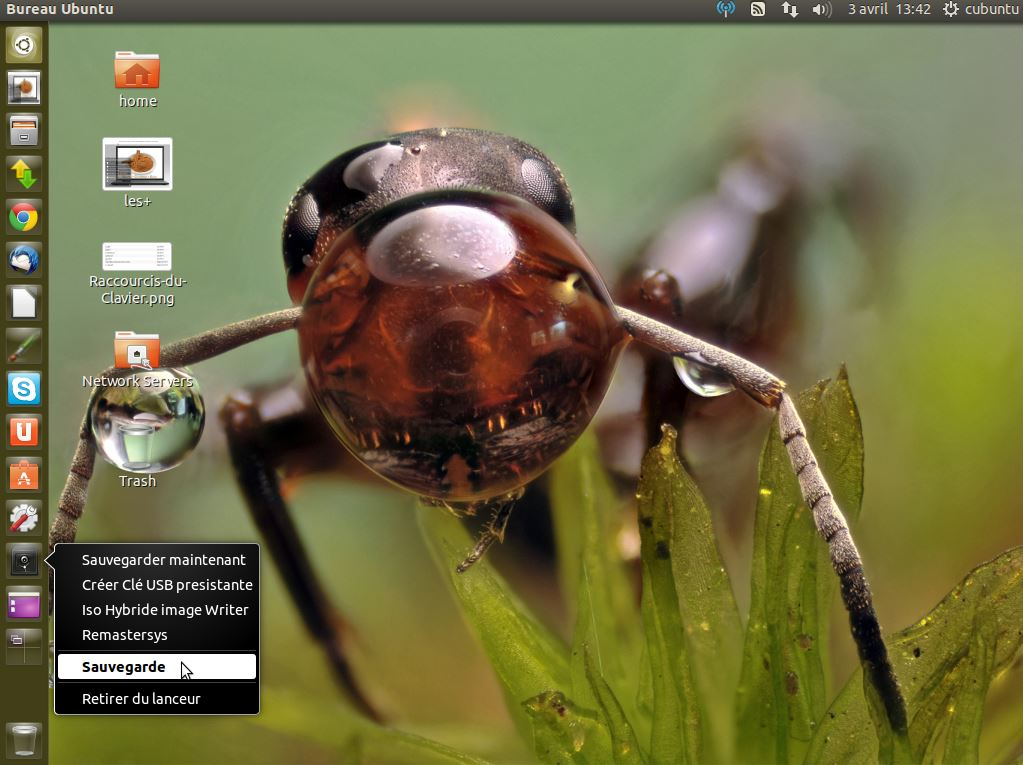 sauvegarde et clé USB hybride ou persistance ubuntu sous cubuntu